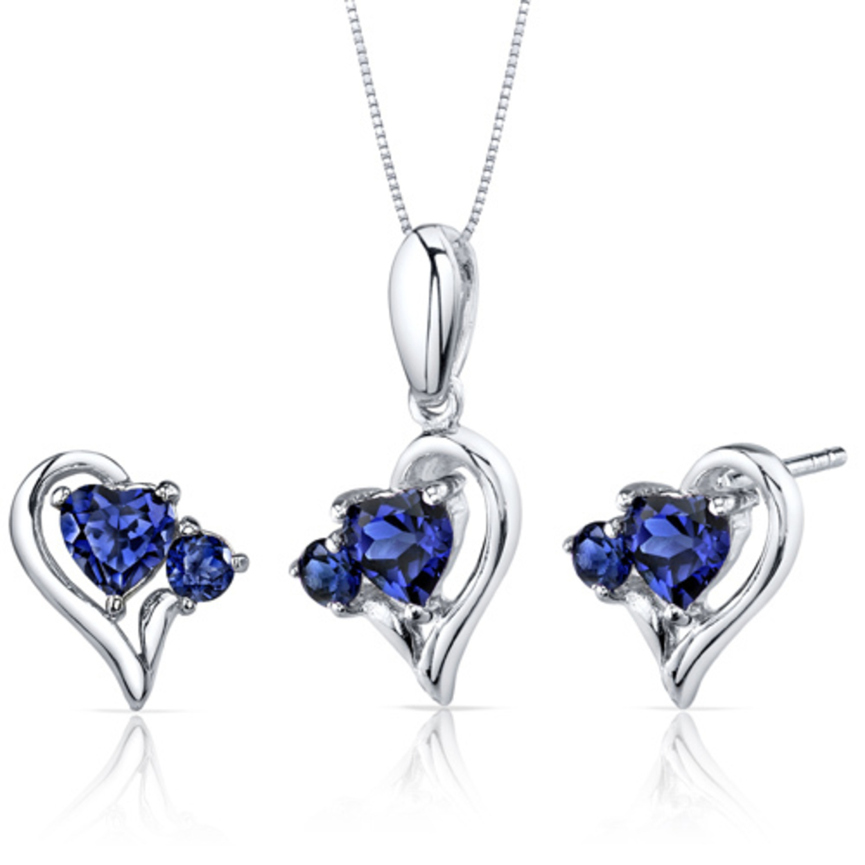 Love And Beauty 2.25 Carats Heart Shape Sterling Silver Sapphire Pendant Earrings Set Style Ss3780