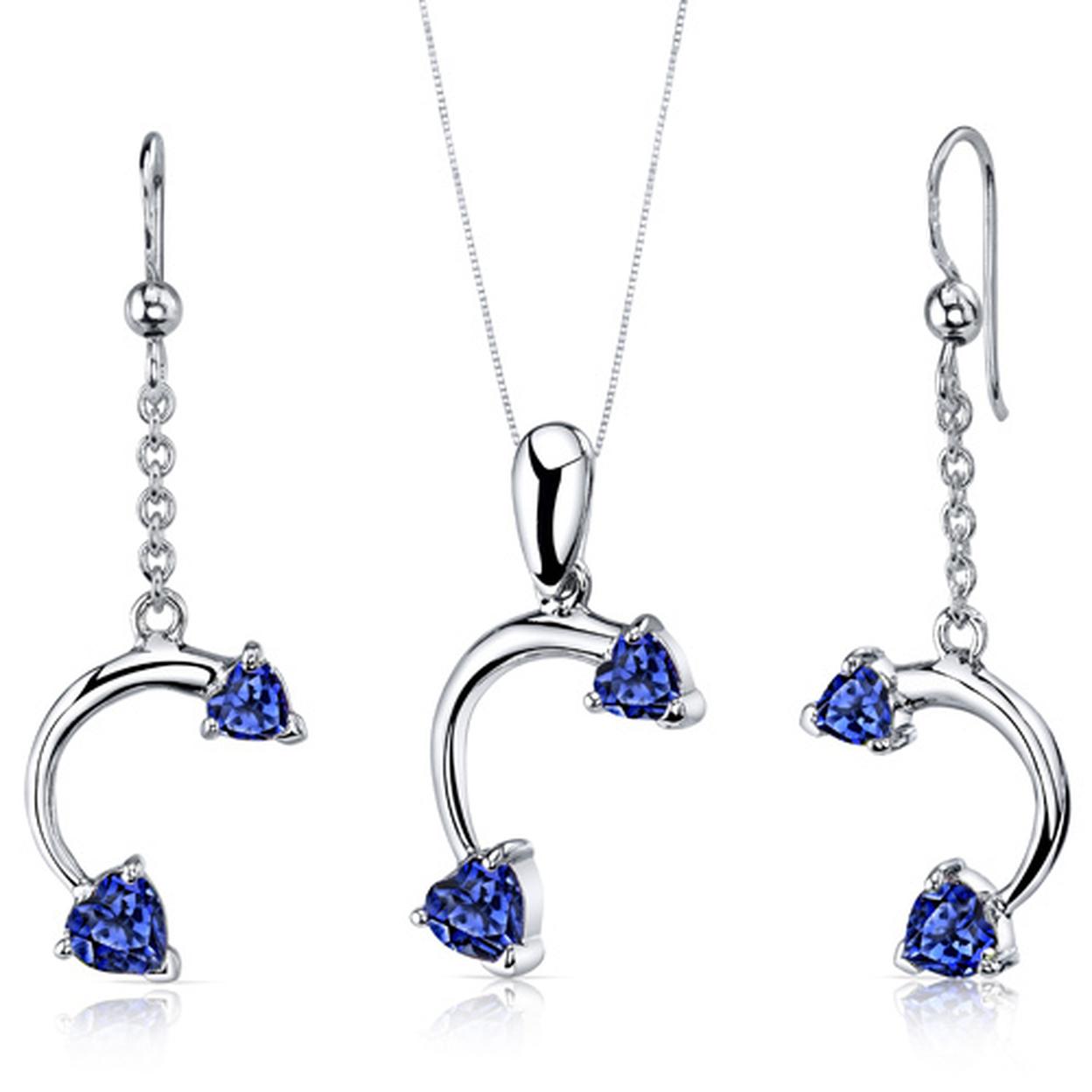 Love Duet 2.25 Carats Heart Shape Sterling Silver Sapphire Pendant Earrings Set Style Ss3738