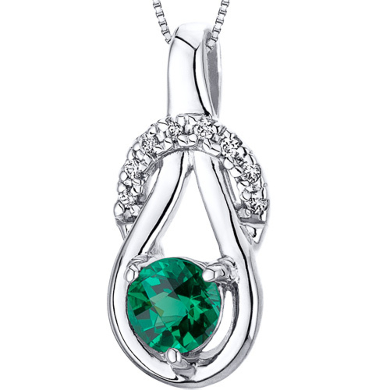 """Oravo 0.5 Ct Round Shape Simulated Emerald Rhodium-plated Sterling Silver Pendant, 18\"""""""