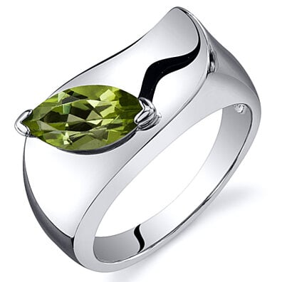 Oravo Rhodium-Plated Sterling Silver Peridot Ring