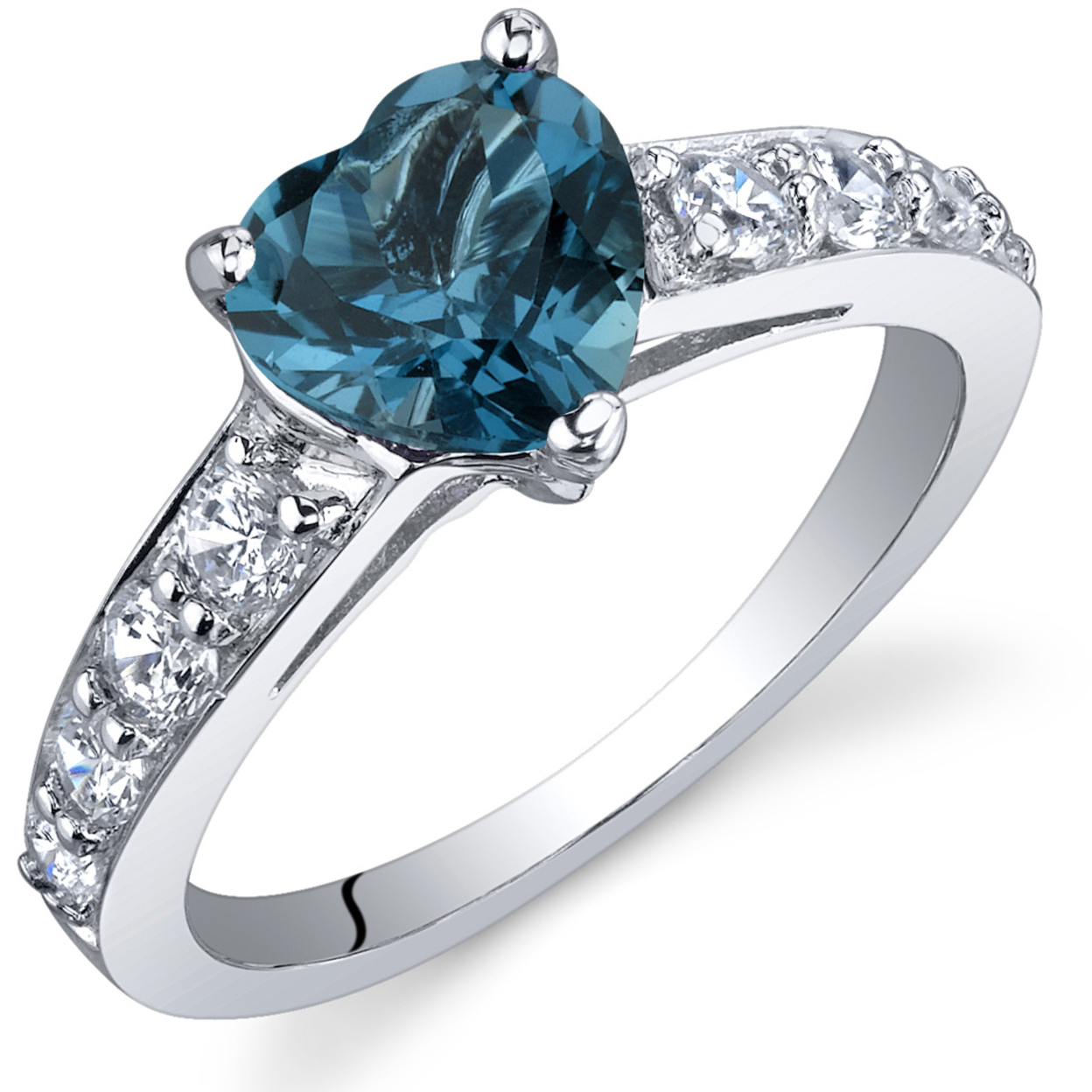 Oravo 1.25 Ct London Blue Topaz In Rhodium-plated Sterling Silver, Sizes 5-9