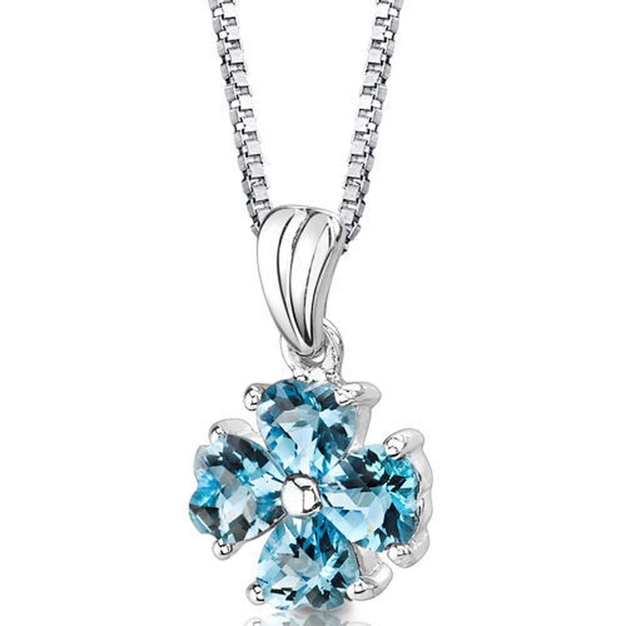 "Oravo 1.50 Carat T.g.w. Heart Cut Swiss Blue Topaz Rhodium Over Sterling Silver Pendant, 18\"""