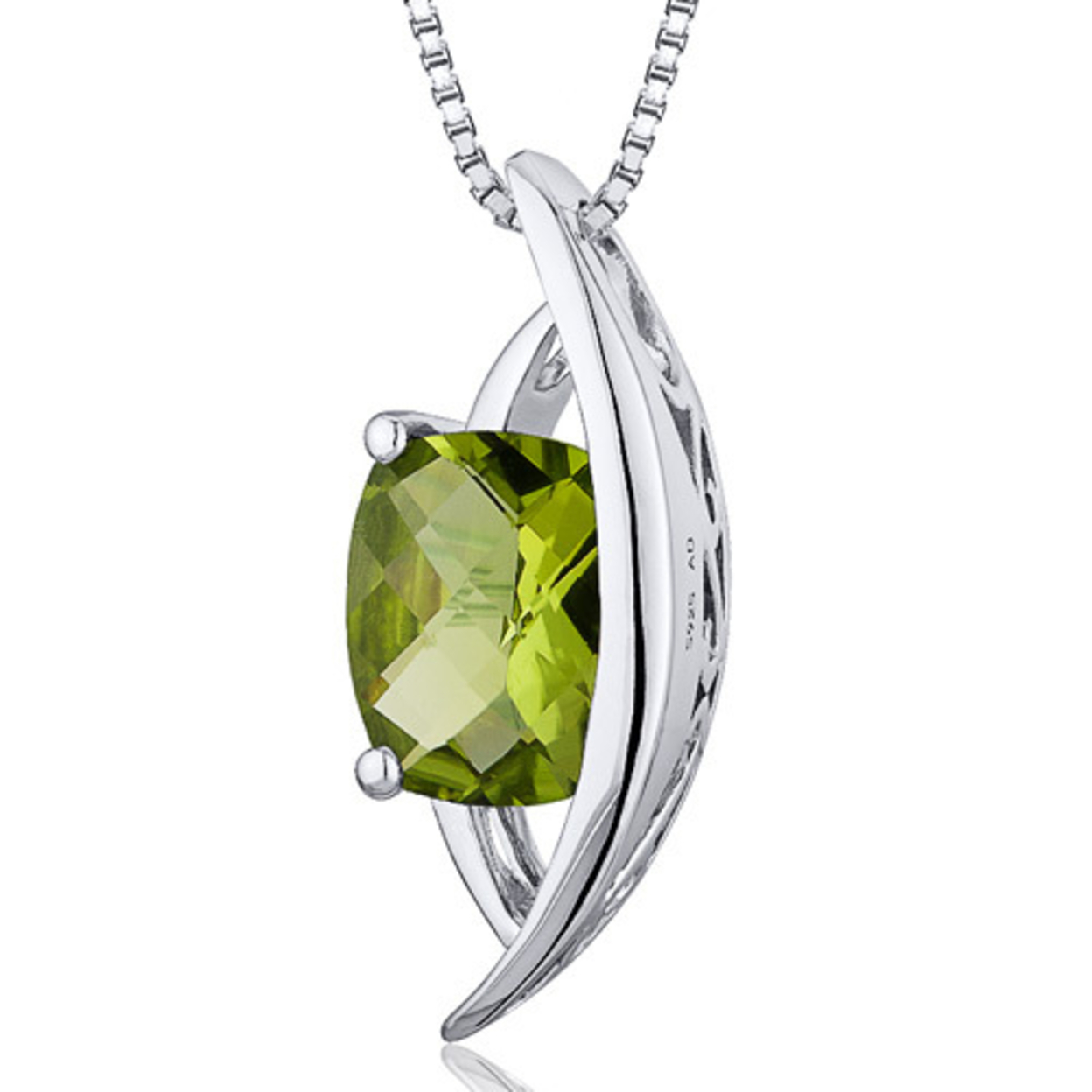 Oravo 1.50 Carat T.g.w. Radiant Checkerboard Cut Peridot Rhodium Over Sterling Silver Pendant, 18""
