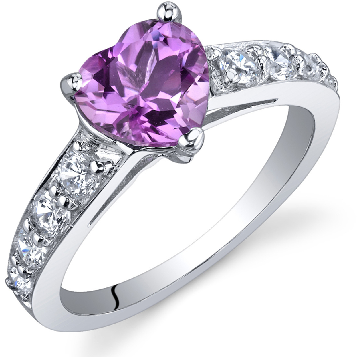 Oravo 1.50 Ct Created Pink Sapphire Ring In Rhodium-plated Sterling Silver, Sizes 5-9