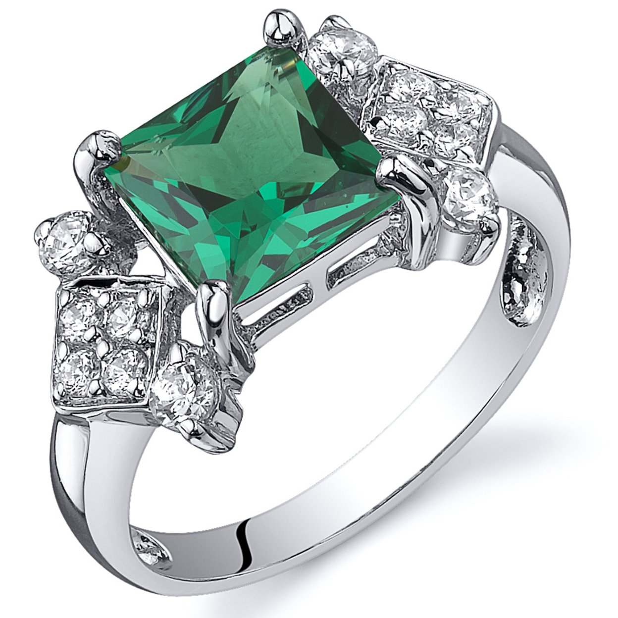 Oravo 1.50 Ct Princess Cut Simulated Emerald Ring In Rhodium-plated Sterling Silver, Sizes 5-9