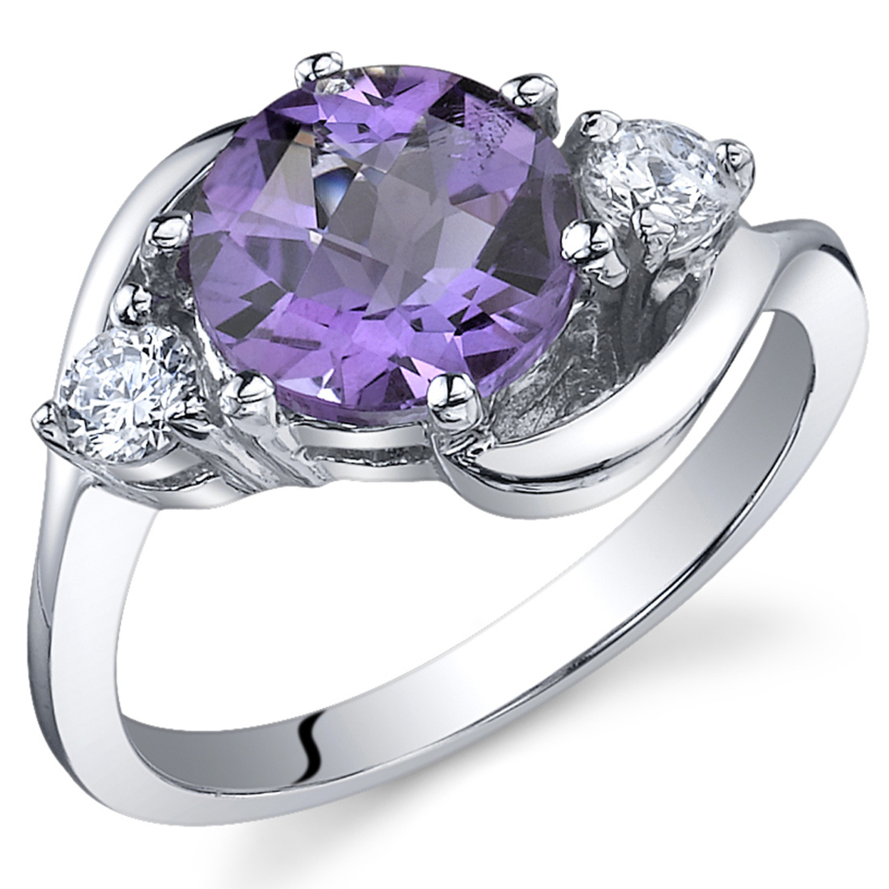 Oravo 1.75 Ct 3 Stone Amethyst Ring In Rhodium-plated Sterling Silver, Sizes 5-9