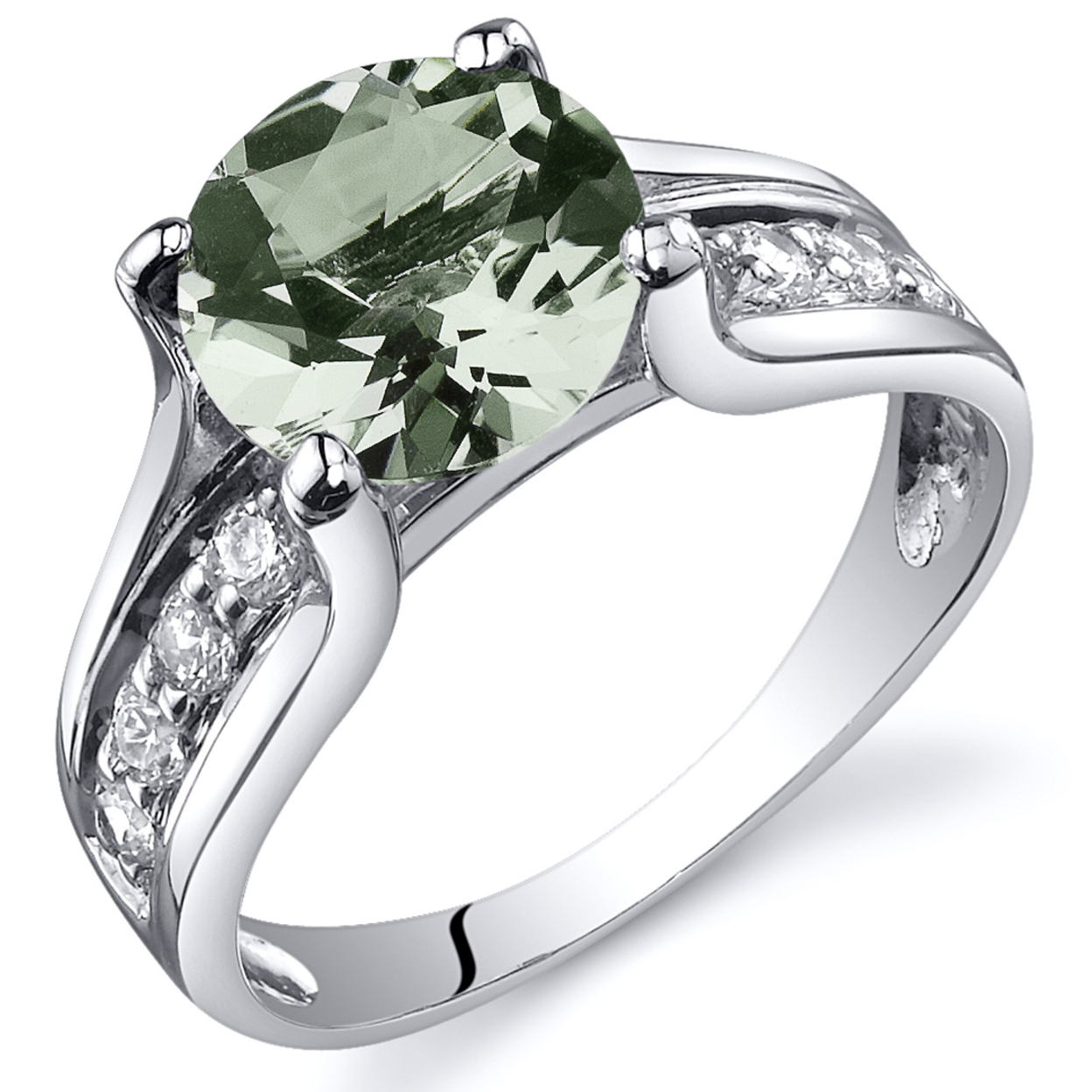 Oravo 1.75 Ct Green Amethyst Solitaire Ring In Rhodium-plated Sterling Silver, Sizes 5-9