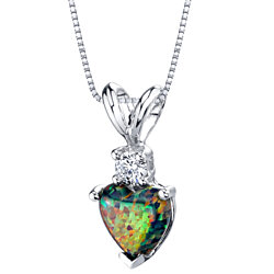 Oravo 14 Karat White Gold Heart Shape Created Black Opal Diamond Pendant