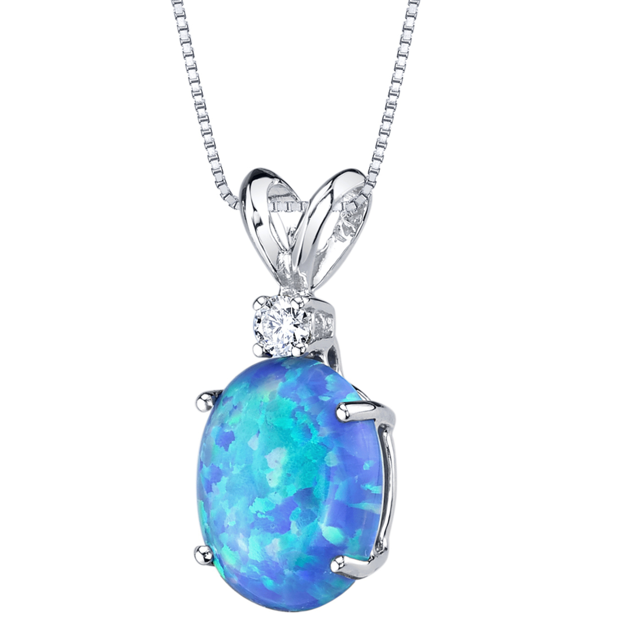Oravo 14 Karat White Gold Oval Shape Created Blue Opal Diamond Pendant