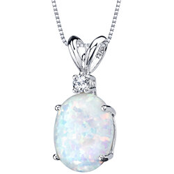 Oravo 14 Karat White Gold Oval Shape Created Opal Diamond Pendant