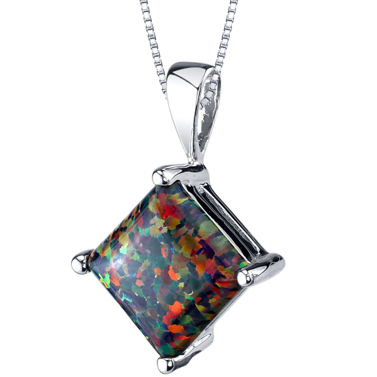 Oravo 14 Karat White Gold Princess Cut Created Black Opal Pendant