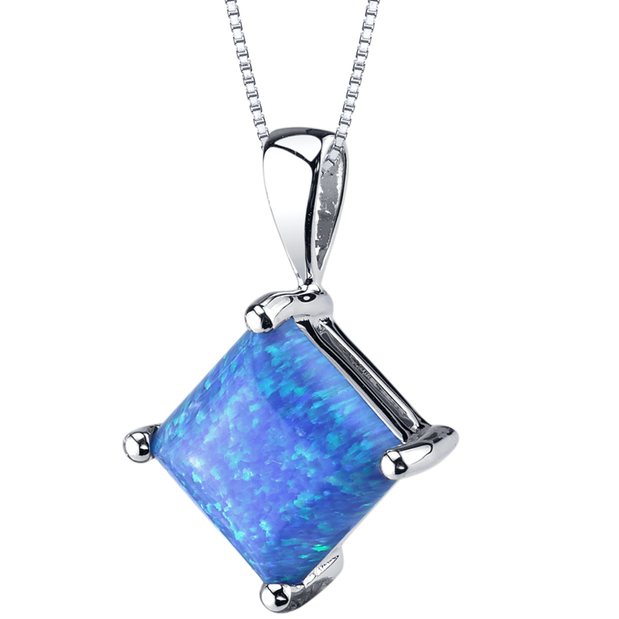 Oravo 14 Karat White Gold Princess Cut Created Blue Opal Pendant