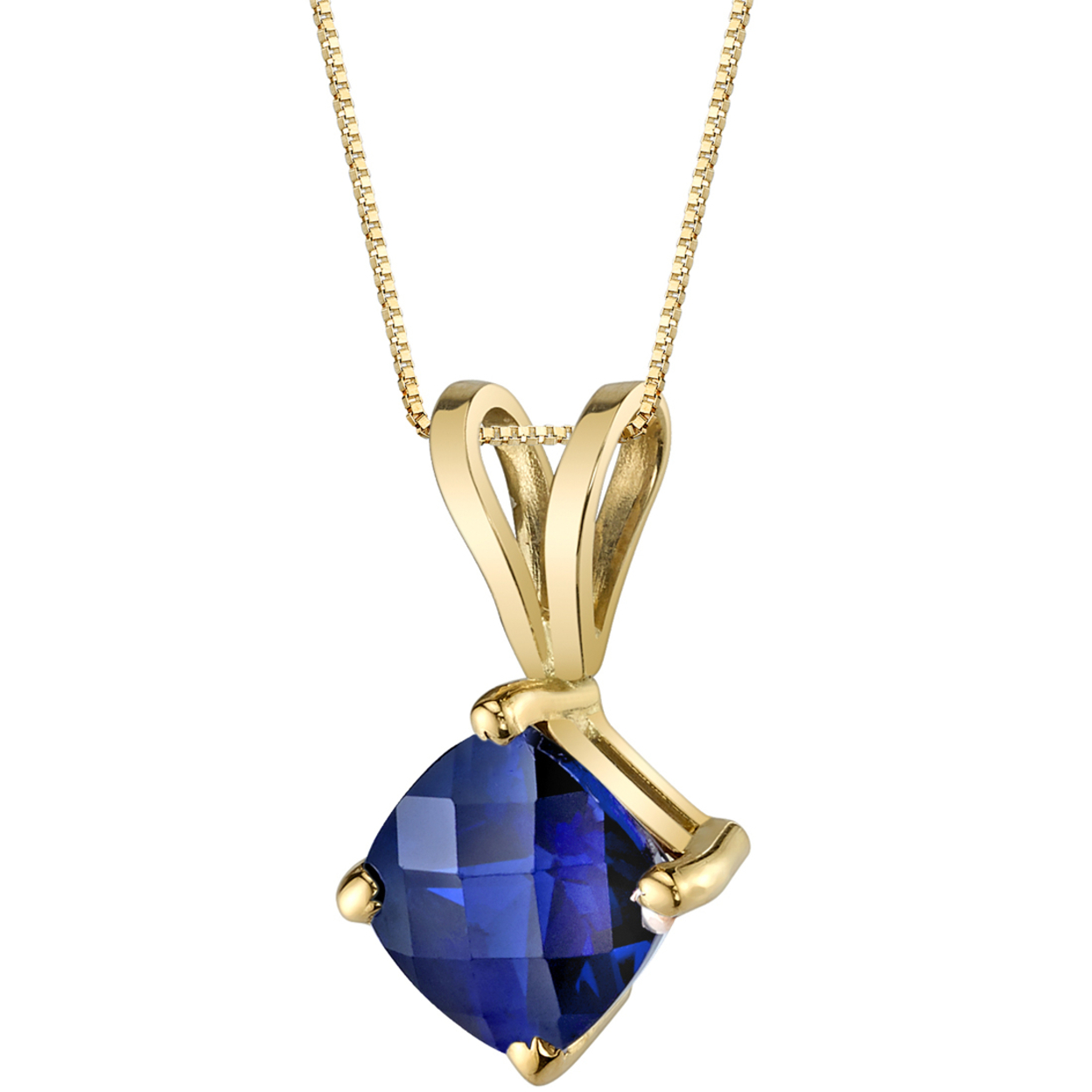 Oravo 14 Karat Yellow Gold Cushion Cut 1.00 Carats Created Blue Sapphire Pendant