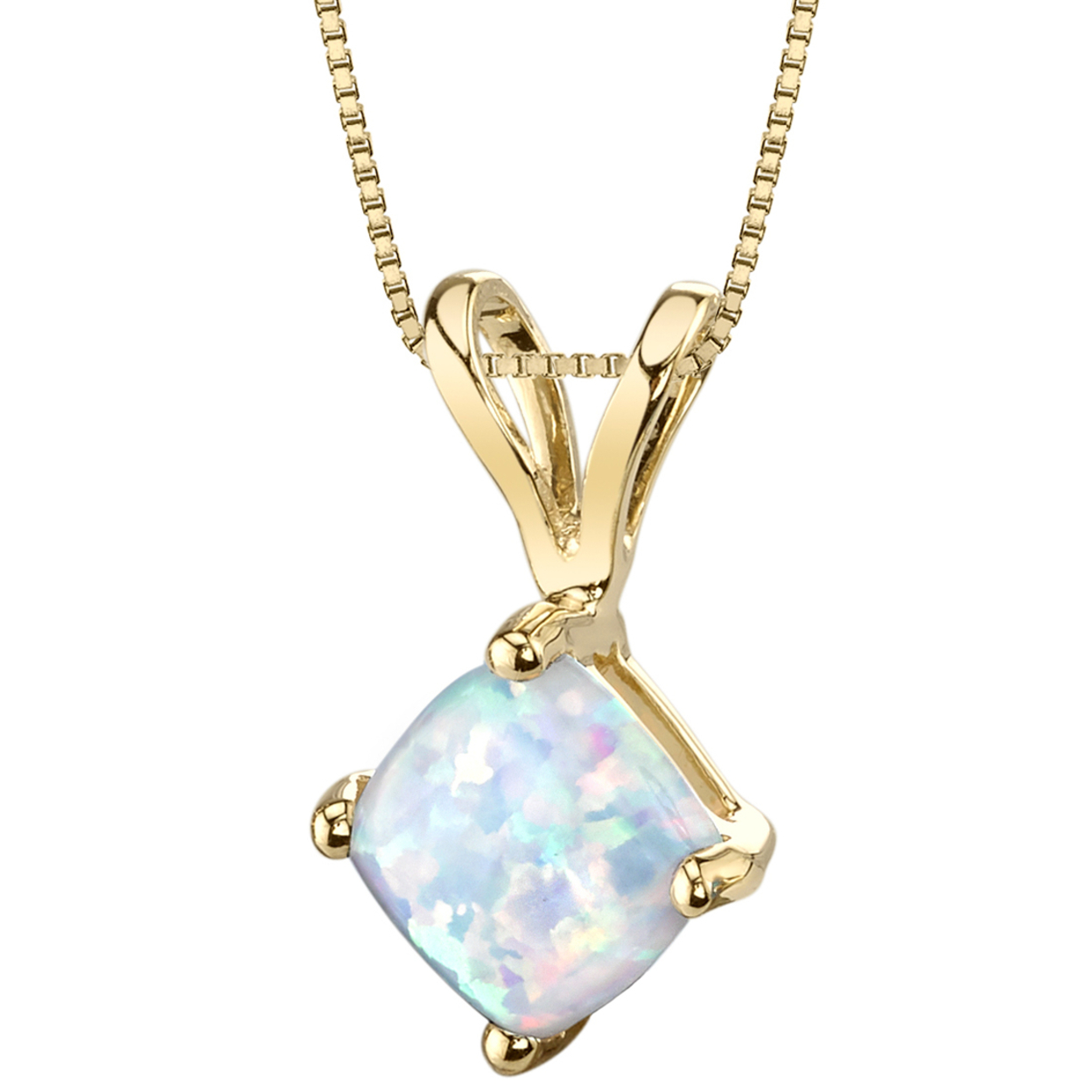 Oravo 14 Karat Yellow Gold Cushion Cut Created Opal Pendant
