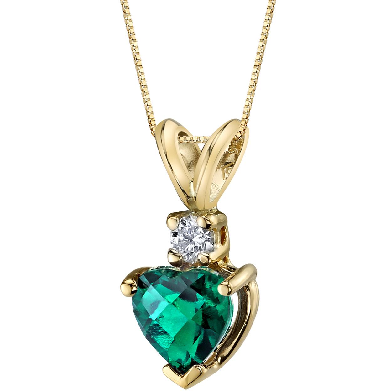 Oravo 14 Karat Yellow Gold Heart Shape 0.75 Carats Created Emerald Diamond Pendant