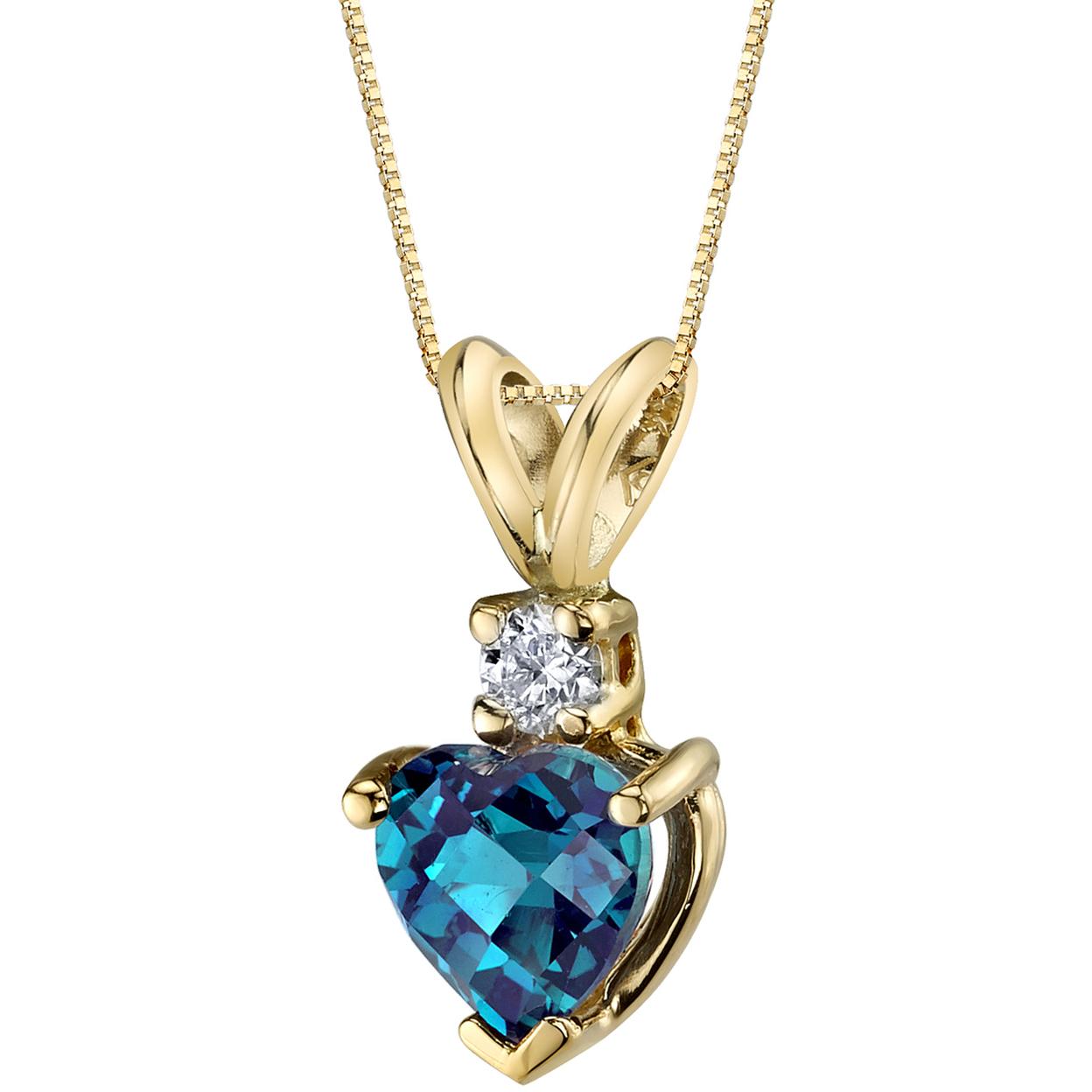 Oravo 14 Karat Yellow Gold Heart Shape 1.00 Carats Created Alexandrite Diamond Pendant