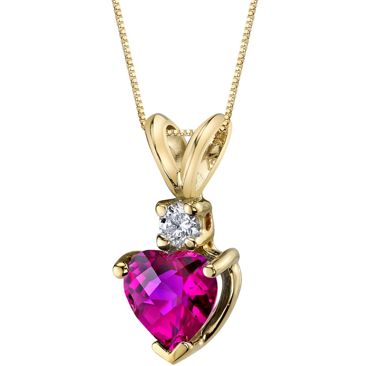 Oravo 14 Karat Yellow Gold Heart Shape 1.00 Carats Created Ruby Diamond Pendant