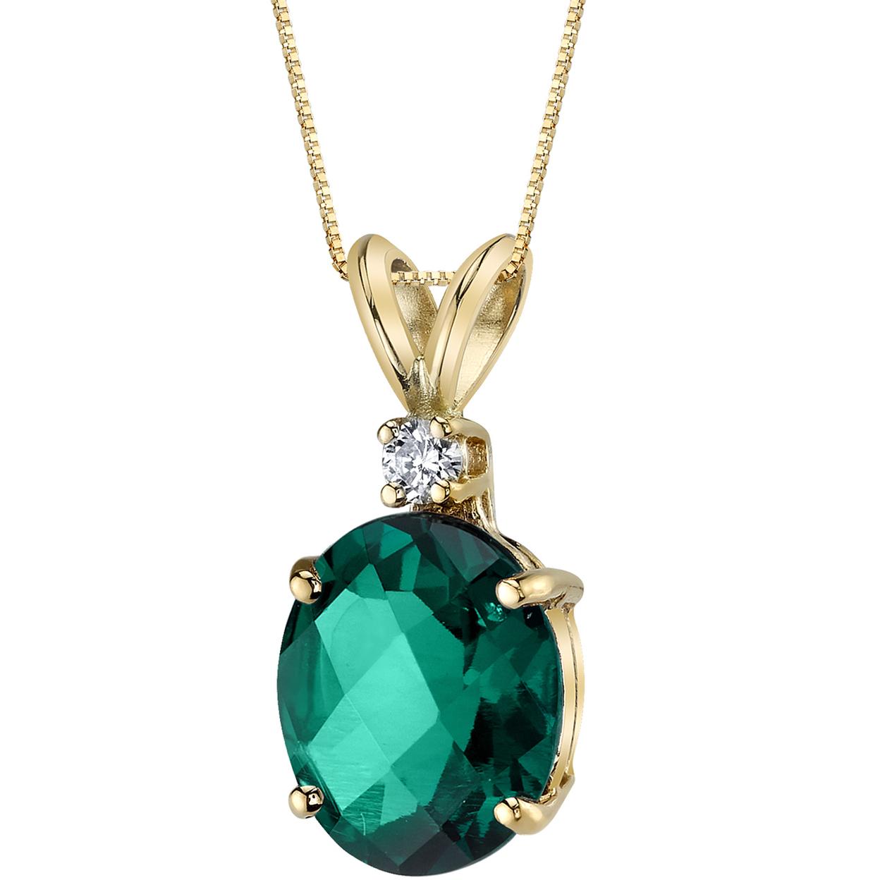 Oravo 14 Karat Yellow Gold Oval Shape 2.50 Carats Created Emerald Diamond Pendant