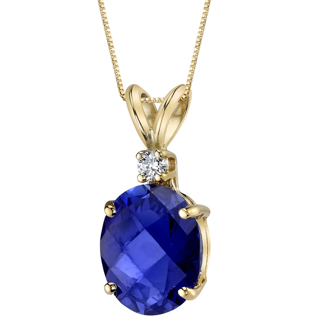 Oravo 14 Karat Yellow Gold Oval Shape 3.50 Carats Created Blue Sapphire Diamond Pendant