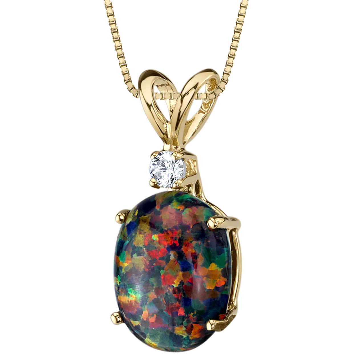 Oravo 14 Karat Yellow Gold Oval Shape Created Black Opal Diamond Pendant