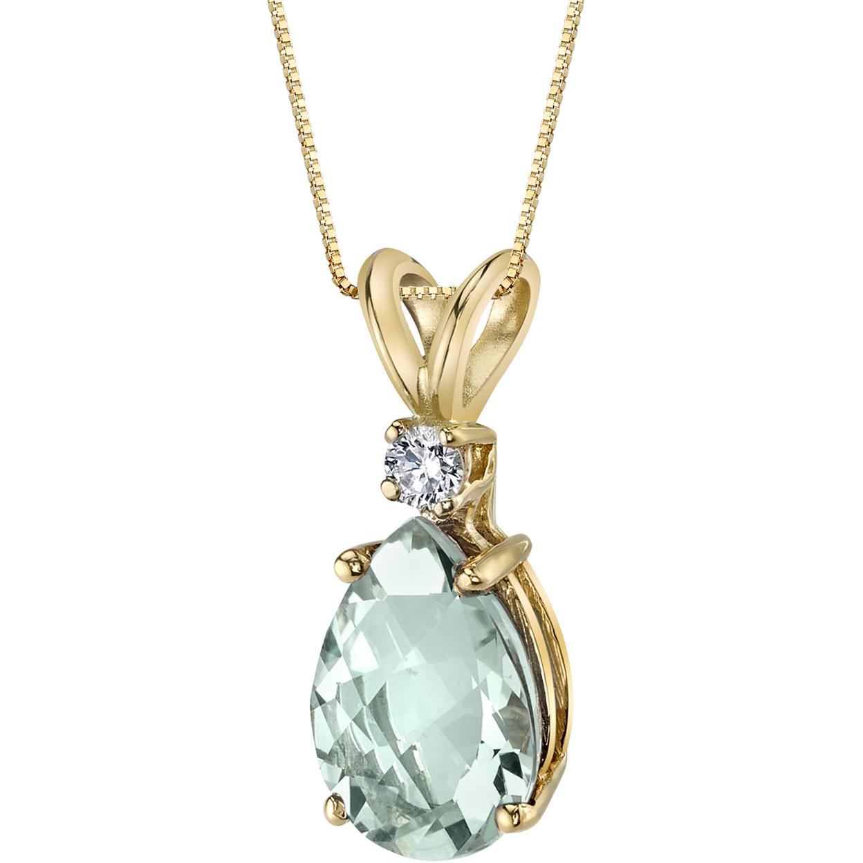 Oravo 14 Karat Yellow Gold Pear Shape 1.50 Carats Green Amethyst Diamond Pendant