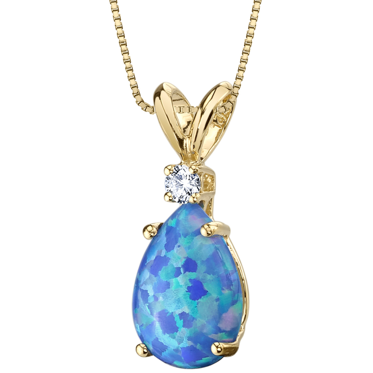 Oravo 14 Karat Yellow Gold Pear Shape Created Blue Opal Diamond Pendant