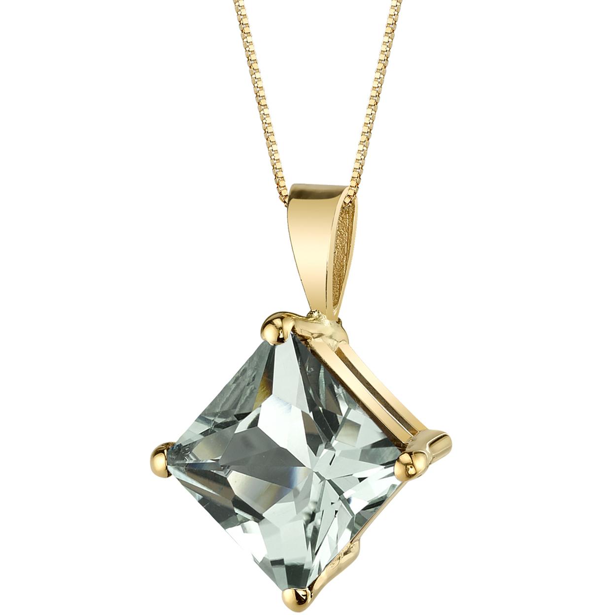 Oravo 14 Karat Yellow Gold Princess Cut 2.25 Carats Green Amethyst Pendant