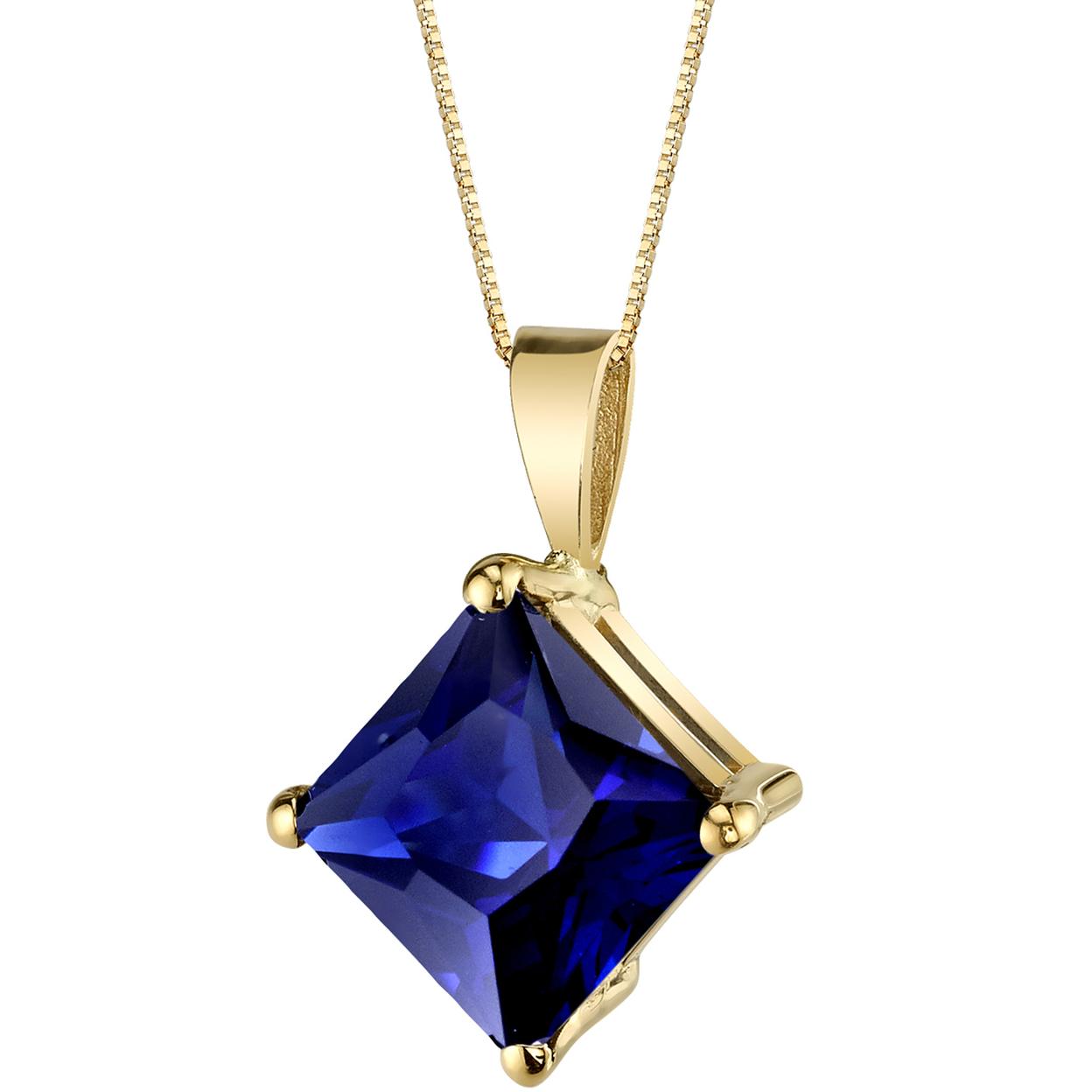 Oravo 14 Karat Yellow Gold Princess Cut 3.50 Carats Created Blue Sapphire Pendant