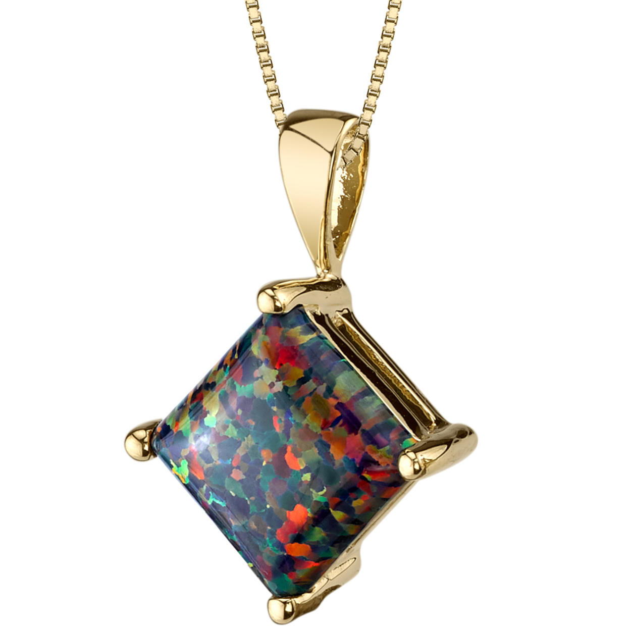 Oravo 14 Karat Yellow Gold Princess Cut Created Black Opal Pendant