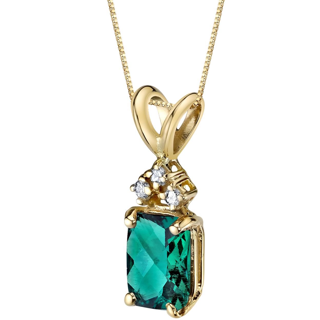 Oravo 14 Karat Yellow Gold Radiant Cut 1.00 Carats Created Emerald Diamond Pendant