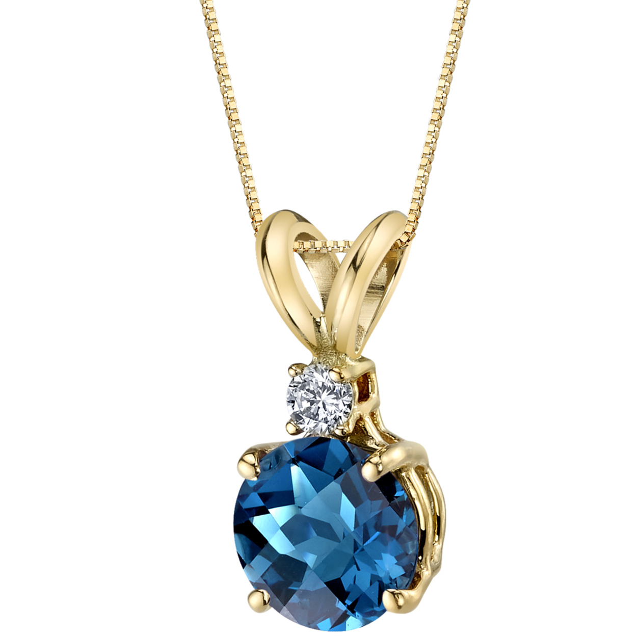 Oravo 14 Karat Yellow Gold Round Cut 1.25 Carats London Blue Topaz Diamond Pendant