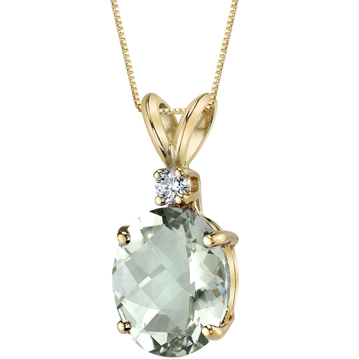 Oravo 14 Kt Yellow Gold Oval Shape 2.25 Carats Green Amethyst Diamond Pendant
