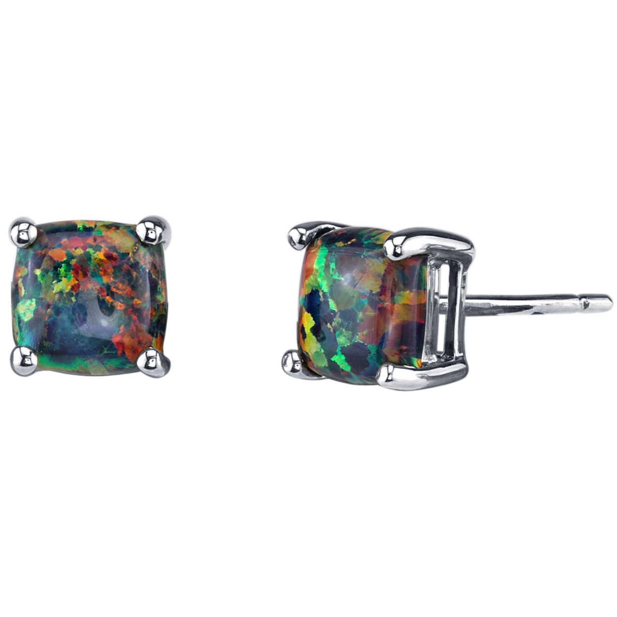 Oravo 14k White Gold Cushion Cut Created Black Opal Stud Earrings