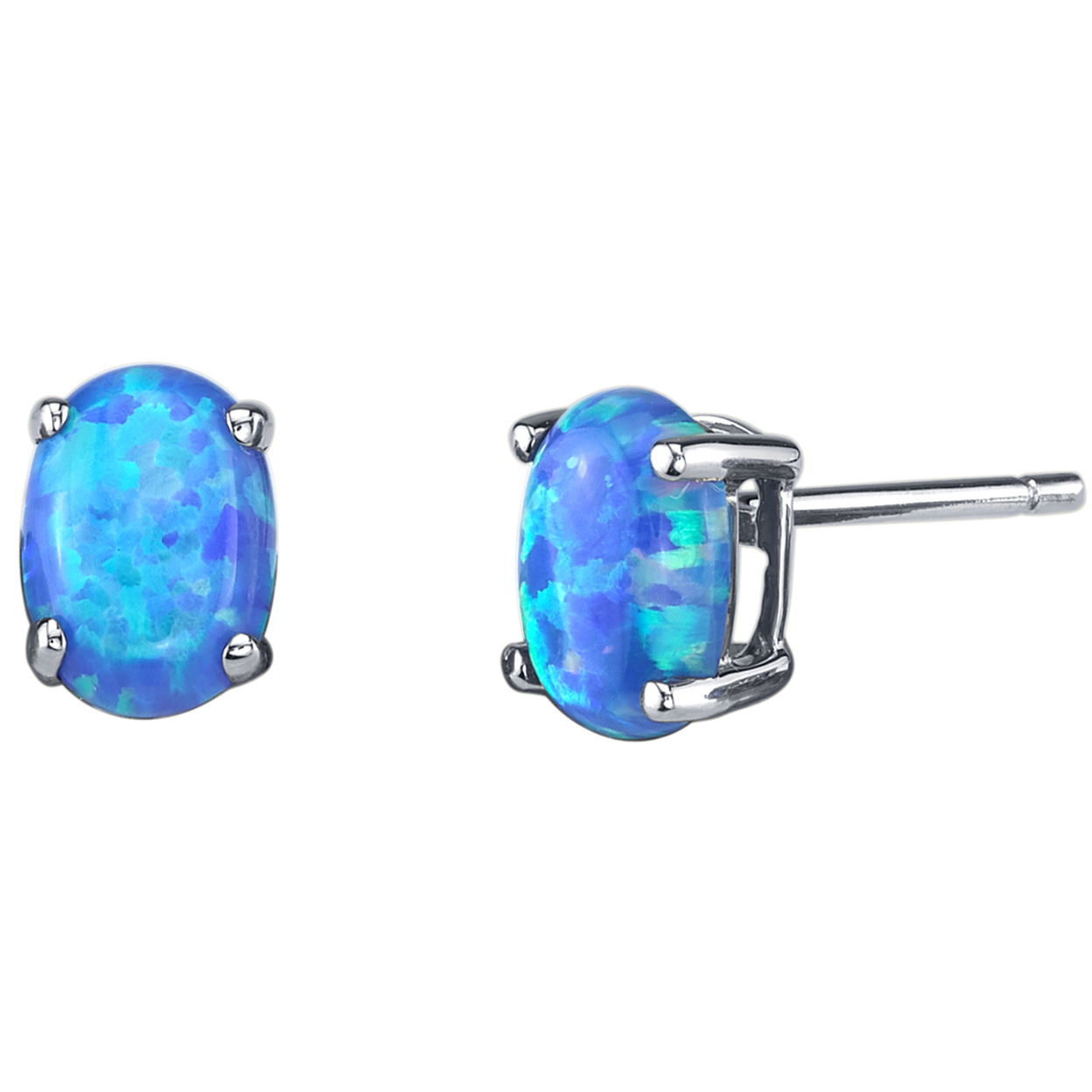 Oravo 14k White Gold Oval Shape Created Blue Opal Stud Earrings