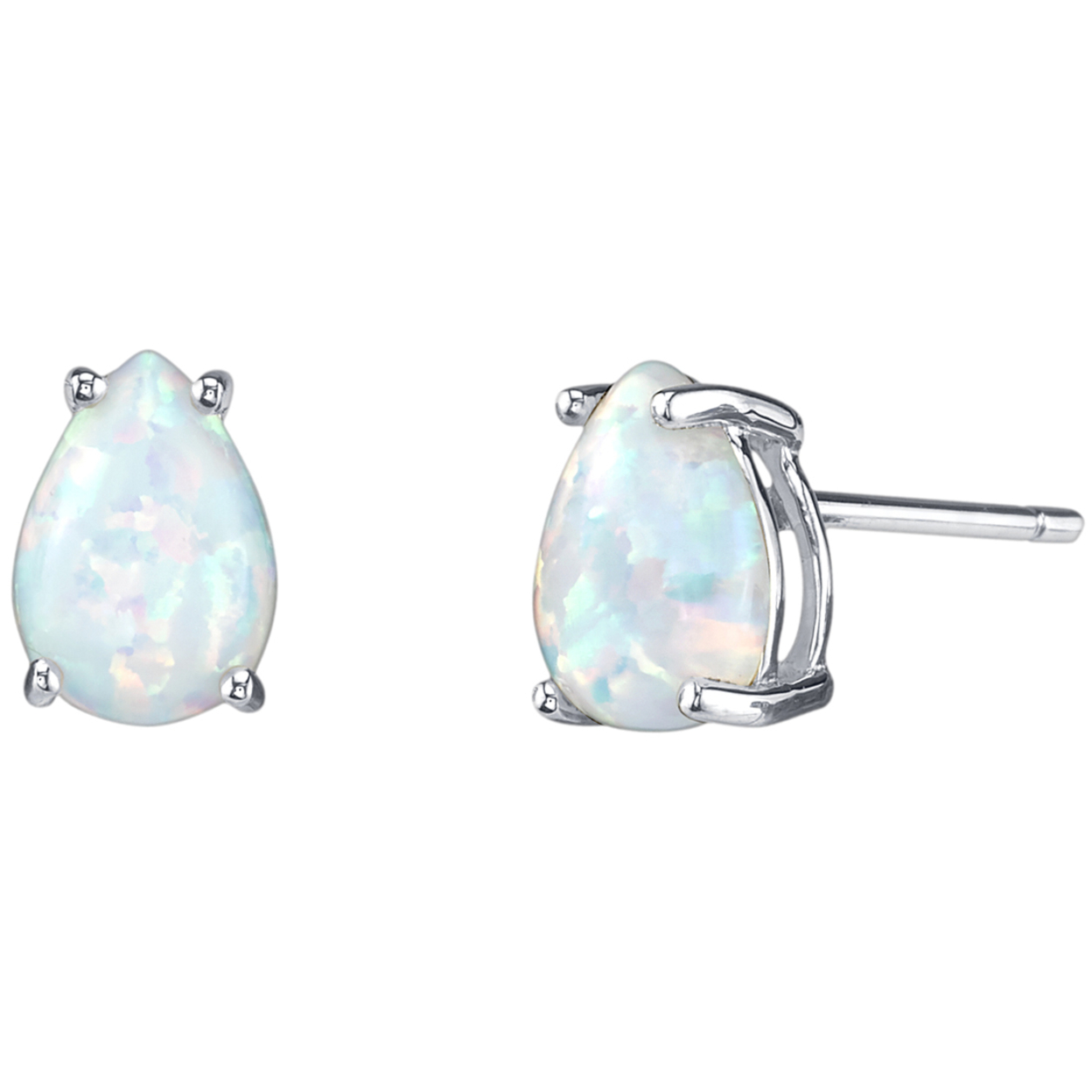 Oravo 14k White Gold Pear Shape Created Opal Stud Earrings