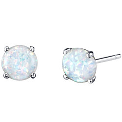 Oravo 14K White Gold Round Cut Created Opal Stud Earrings