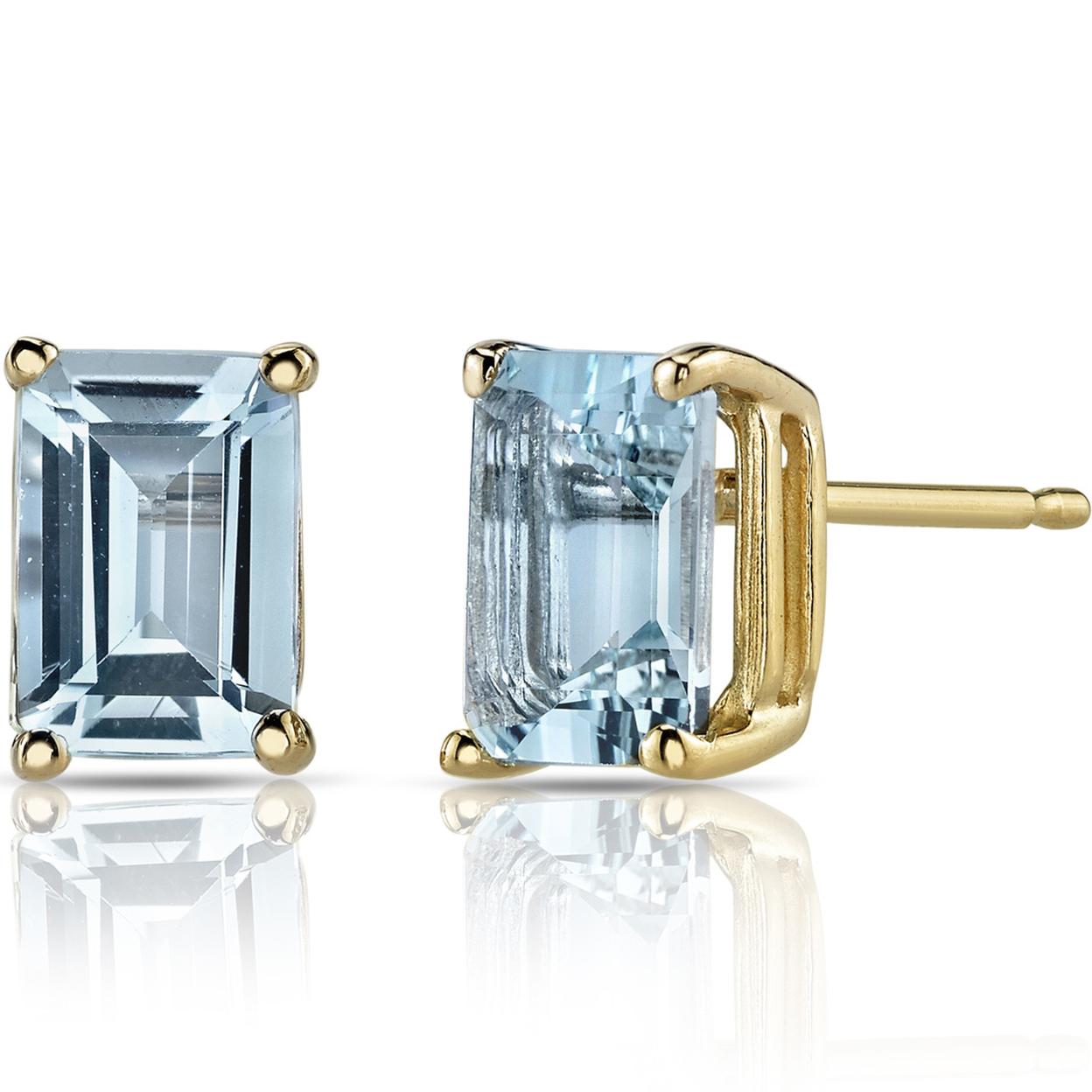 Oravo 14k Yellow Gold 1 3/4ct Tgw Aquamarine Emerald-cut Stud Earrings