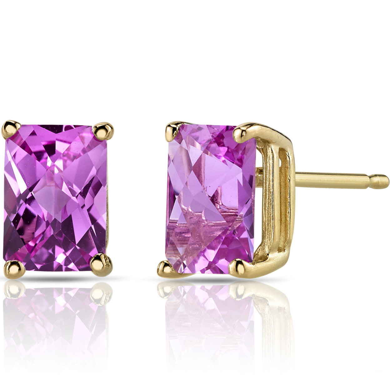 Oravo 14k Yellow Gold 2 1/2ct Tgw Created Pink Sapphire Radiant-cut Stud Earrings