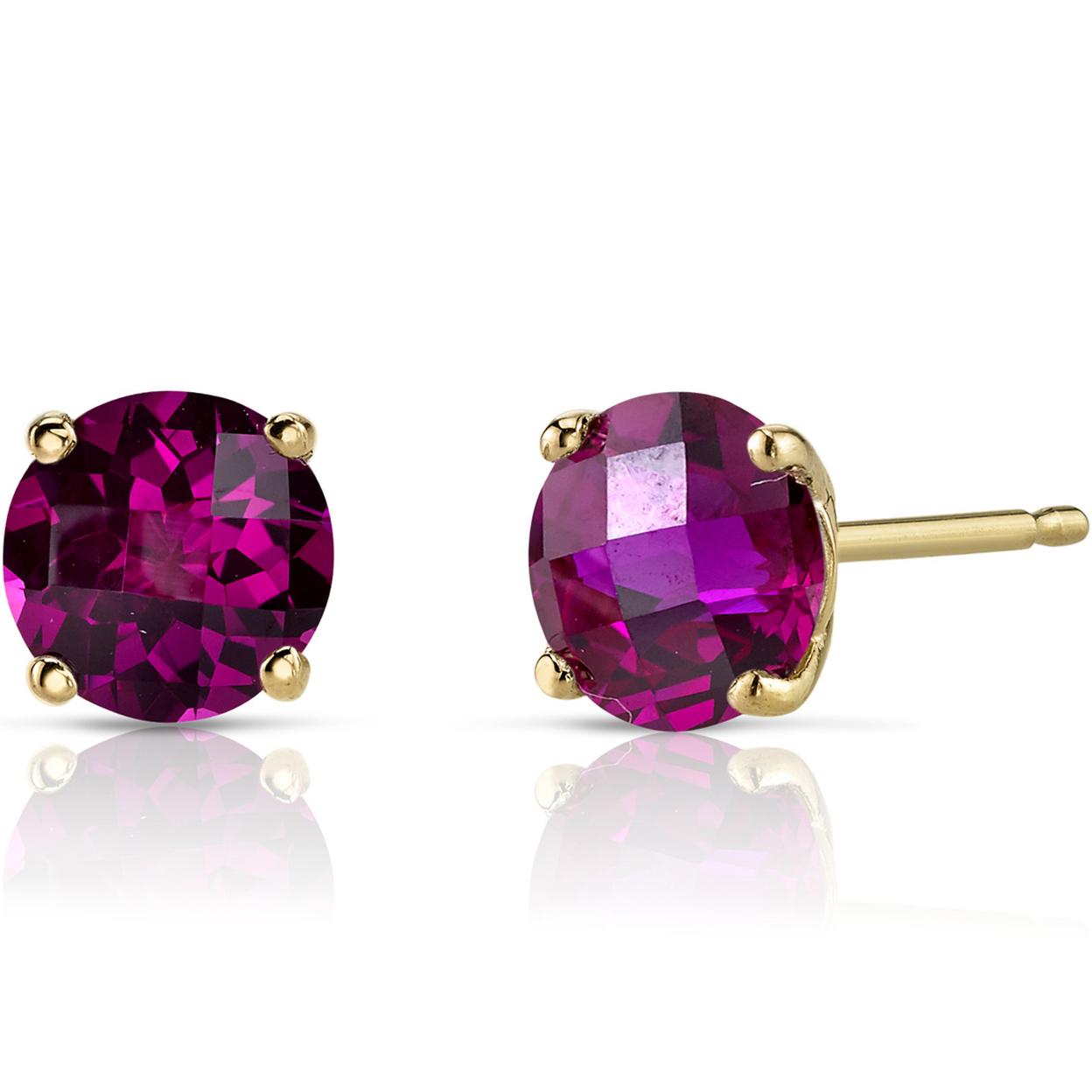 Oravo 14k Yellow Gold 2 1/4ct Tgw Created Ruby Round-cut Stud Earrings