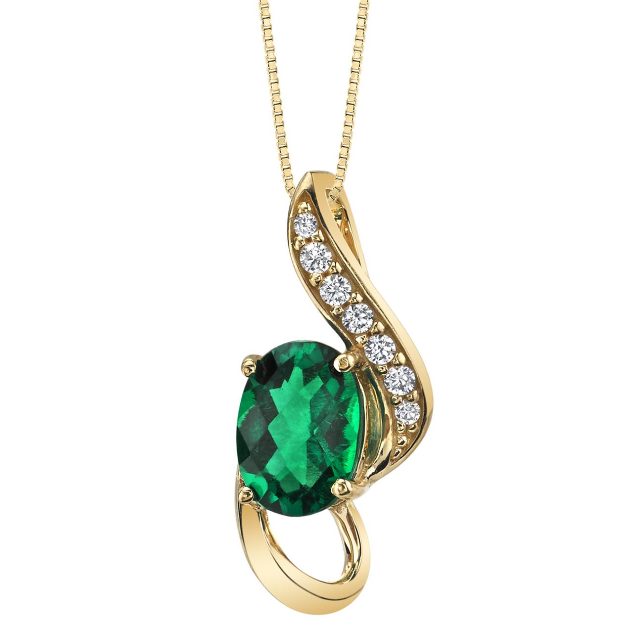 Oravo 14k Yellow Gold Created Emerald Slider Pendant 3/4 Carat