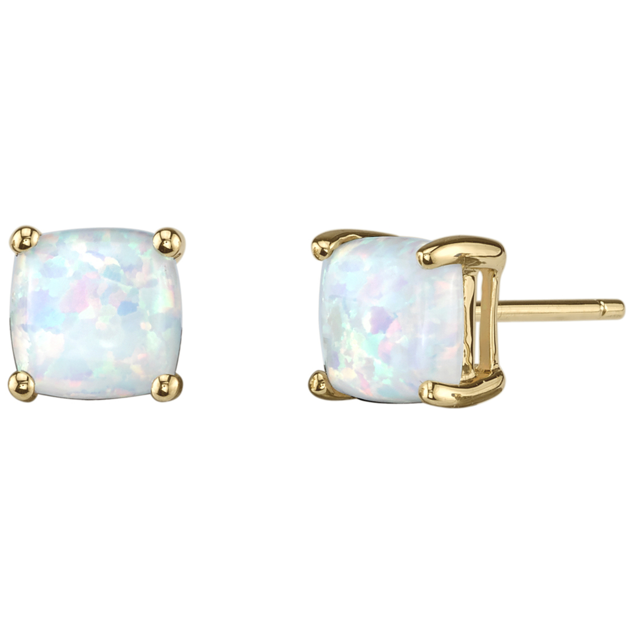 Oravo 14k Yellow Gold Cushion Cut Created Opal Stud Earrings