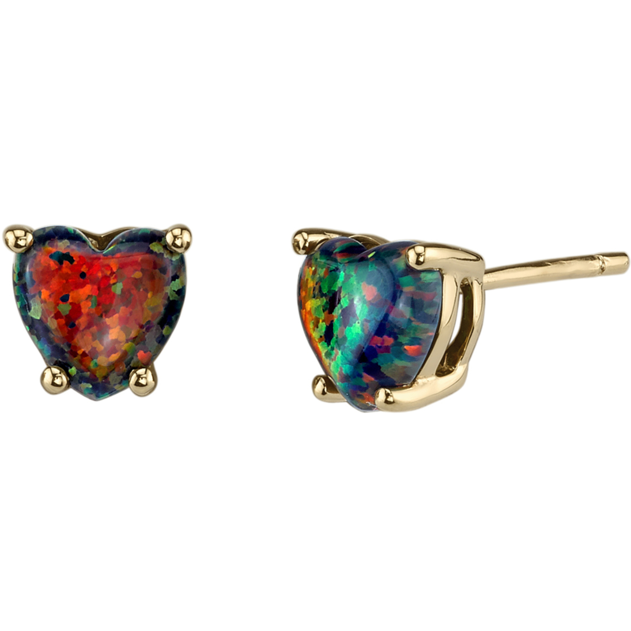 Oravo 14k Yellow Gold Heart Shape Created Black Opal Stud Earrings