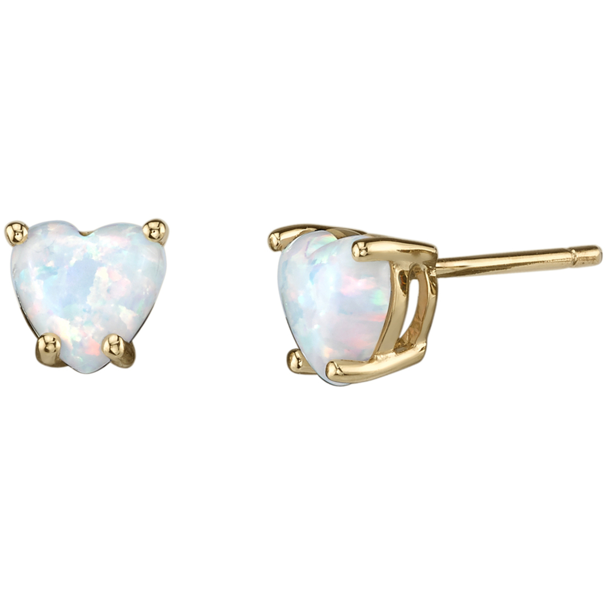 Oravo 14k Yellow Gold Heart Shape Created Opal Stud Earrings