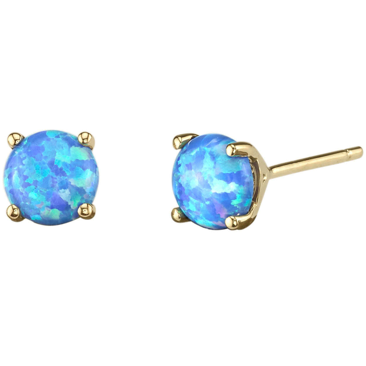 Oravo 14k Yellow Gold Round Cut Created Blue Opal Stud Earrings