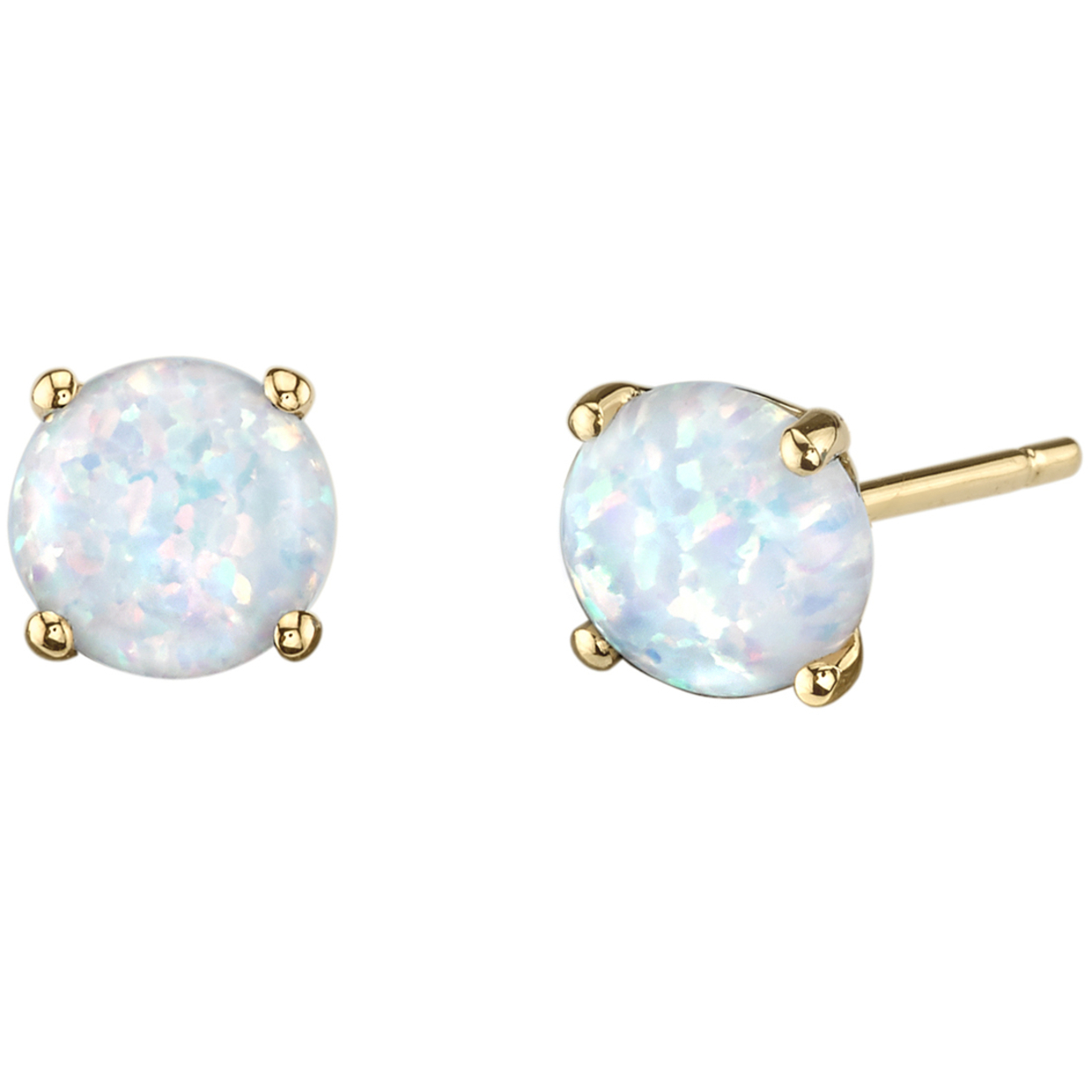 Oravo 14k Yellow Gold Oval Shape Created Blue Opal Stud Earrings