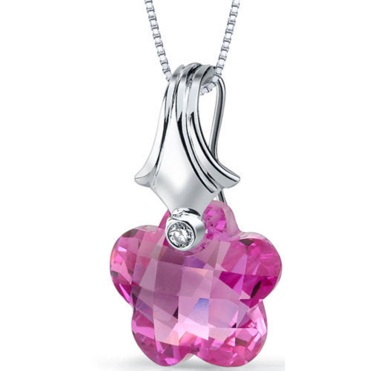 Oravo 16.00 Carat T.g.w. Flower Cut Created Pink Sapphire Rhodium Over Sterling Silver Pendant, 18""