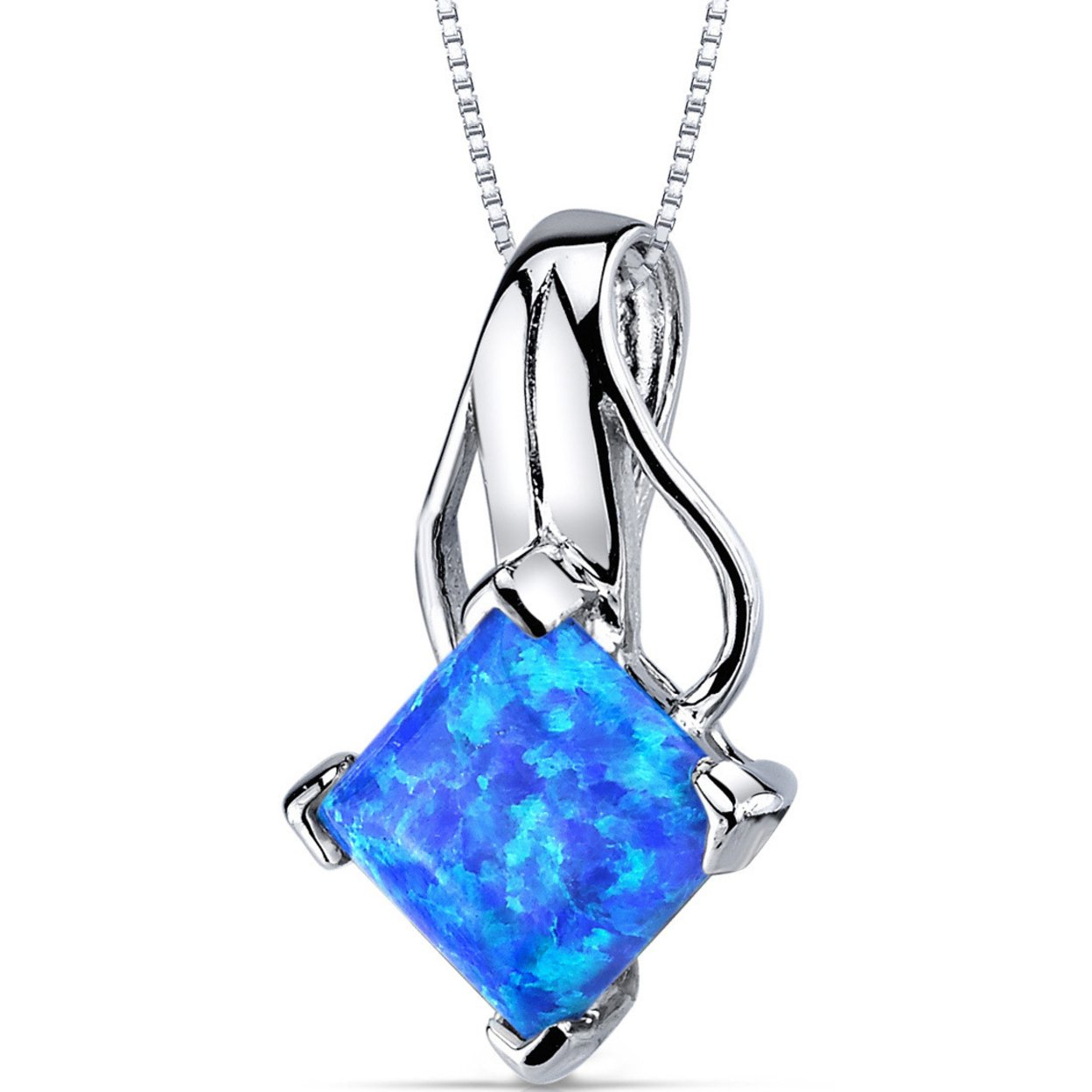 Oravo 2.00 Carat T.g.w. Princess Cut Created Blue-green Opal Rhodium Over Sterling Silver Pendant, 18""