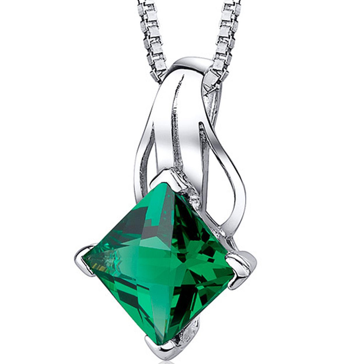 "Oravo 2.00 Carat T.g.w. Princess Cut Emerald Rhodium Over Sterling Silver Pendant, 18\"""