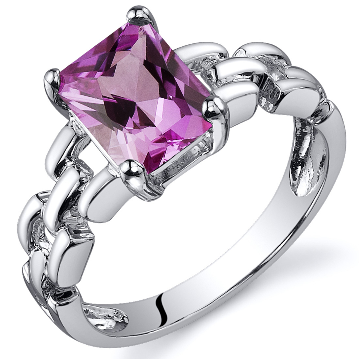 Oravo 2.00 Ct Created Pink Sapphire Engagement Ring In Rhodium-plated Sterling Silver, Sizes 5-9