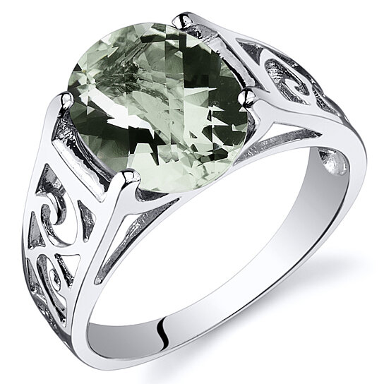 Buy oravo 2 25 ct green amethyst solitaire ring in rhodium plated